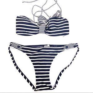 American Eagle Navy Striped Bandeau Bikini SP